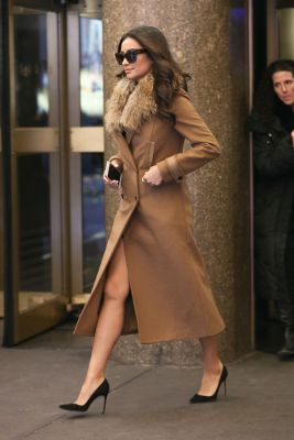 shay mitchell camel fur coat