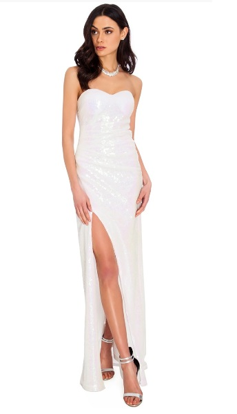 goddiva strapless white dress