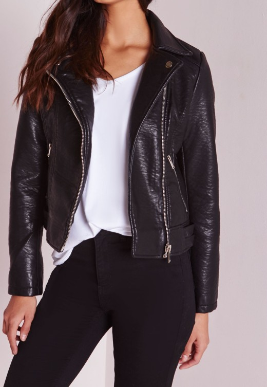 faux leather biker jacket misguided