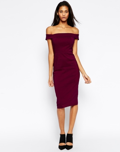 off the shoulder bardot pencil dress