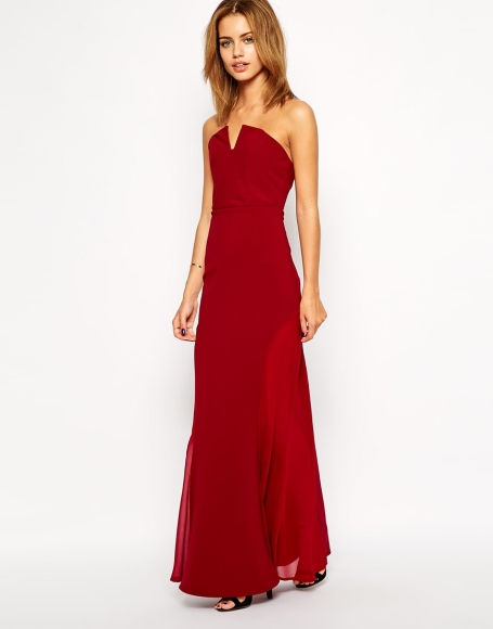 red strapless maxi dress gown