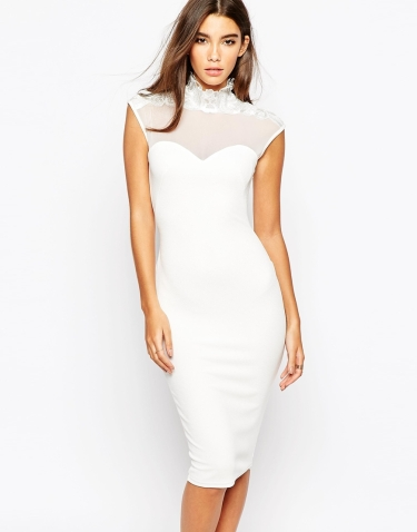 white mesh bodycon dress